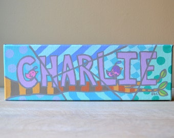 """Personalized Custom Name Painting on Canvas 12"""" x 4"""""""