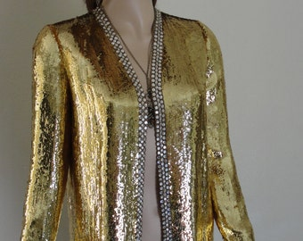 Norell Tassell I.MAGNIN beautiful sequined jacket sparkling gold small 50s 1950s 60s 1960s designer RARE NWT deadstock