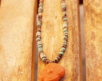 Bohemian, Rustic Necklace, Turquoise Moroccan Boho Necklace