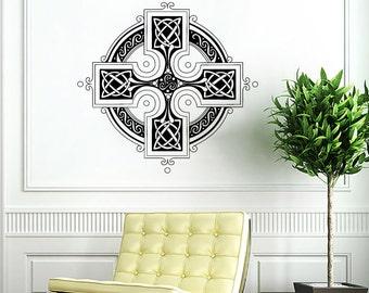 Celtic Cross Wall Decal Celtic Cross Decals Wall Vinyl Sticker Interior Home Decor Vinyl Art Wall Decor Bedroom SV5847