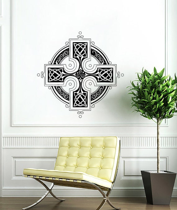 Celtic cross wall decal celtic cross decals by supervinyldecal for Celtic bedroom ideas