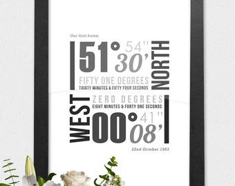 Personalised Coordinates Print, Typographic Latitude & Longitude Poster, Framed A3 Personalized Print