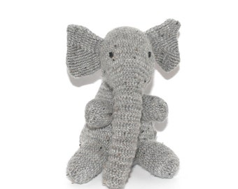 Elephant Plush Toy - Hand Knitted Grey Elephant - Toy Elephant - Stuffed Elephants for Nursery - Handknitted Elephant - Handmade Zoo Animal