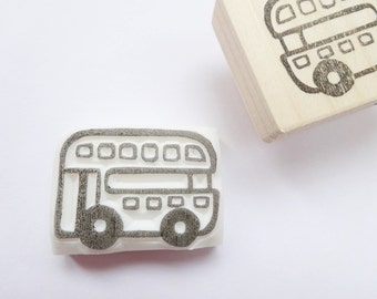 London bus rubber stamp, Baby shower decor, Double Decker, Japanese stationery