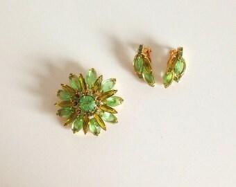 Vintage Green Rhinestone Flower Brooch and Earring Set