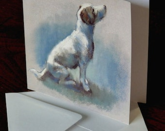Waiting Patiently. Jack Russell Terrier. Greetings card from an original pastel sketch