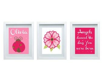 Girls Bedroom Decor Lady Bug Nursery Art Girls Nursery Art Nursery Quote Pink Personalized Name Custom Wall Art Print Set of 3 - 8x10