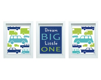 Boys Bedroom Decor Transportation Room Decor Dream Big Little One Print Playroom Decor Dream Big Wall Art Set of 3-8X10 Prints