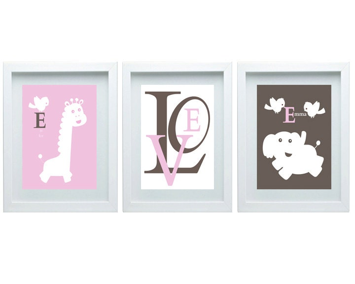 Elephant Giraffe Nursery Decor Pink Brown Nursery Girl Room