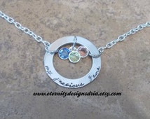 Handstamped Mother/Grandma/birthstone necklace/My Precious Gems necklace
