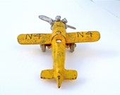 Vintage Cast Iron Yellow Toy Airplane - Propeller Plane - EagleWingVintage