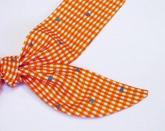 """Orange Dog Collar TIE ONE ON Cooling Collar, Pet Neck Cooler Fabric Bandana Stay Cool Tie Wrap Band Sz Small Medium Large 10 to 22"""" iycbrand"""