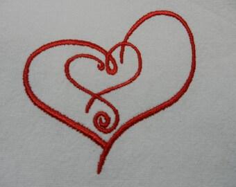 Embroidered Heart Tea Towel - WHITE
