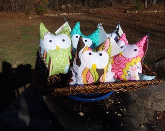 Four For Amy.... Custom stuffed owls! Handmade! Bright fabrics!