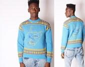 Vintage Snoopy Sweater - Varsity Sweater - Vintage Varsity Sweater -  Ski sweater - 428s