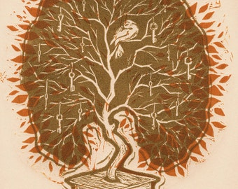 SECRET KEEPER - Linoleum Printmaking Art. Tree with a bird in it growing out of a closed box.