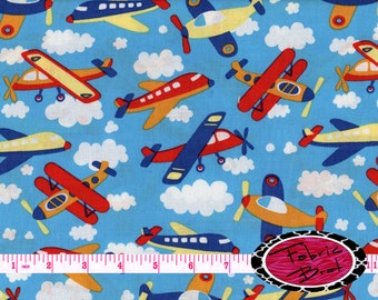 Airplane fabric by the yard half yard or fat quarter blue for Childrens airplane fabric