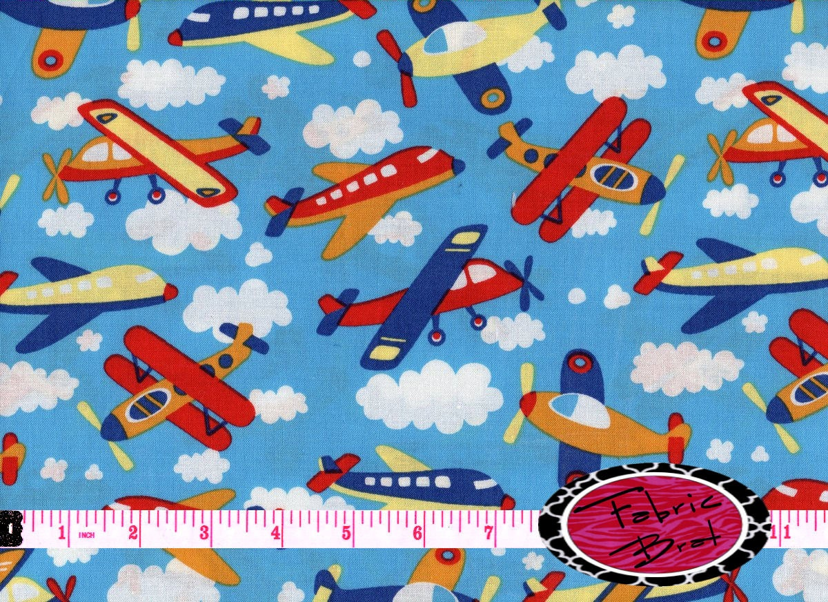 airplane fabric by the yard fat quarter sky blue by fabricbrat