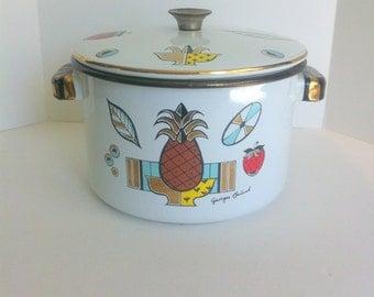 Georges Briard Enamelware Fruit Ambrosia Pattern Vintage Large Stock Pot