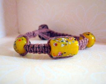 Natural Brown Hemp Bracelet with Yellow Beads