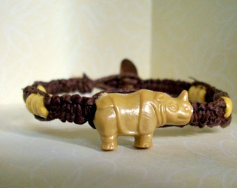 Natural Brown Hemp Bracelet with Rhino Bead