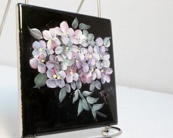 Ceramic Tile Black Hand Painted Hydrangea Garden Flowers Tile Coaster Wall Hanging Decor Ceramic Trivet Wall Art Home Decor Ceramic Coaster