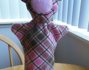 Pink and Brown Pig Hand Puppet.