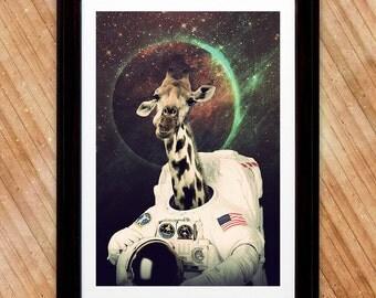 Girafronaut Poster, Giraffe Astronaut Space Print