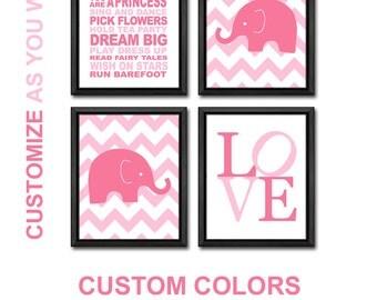 elephant nursery print girl nursery decor elephant baby girl playroom rules elephant baby decor chevron elephant pink nursery wall art