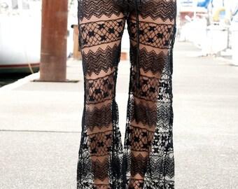 boho gypsy festival dance beach crochet lace horizontal pattern pants w drawstring