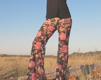 FLORAL PRINT lace boho dance beach resort yoga festival burning man gypsy flare bell bottoms or leggings pants liner optional
