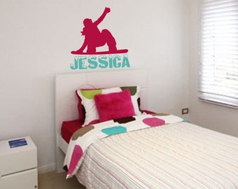 Snowboard Wall Decal: Extreme Sports Decal - Girls Bedroom Decor