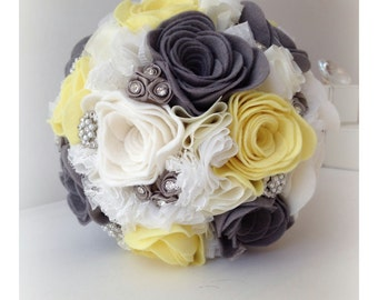 Handmade ivory, lemon and grey alternative felt wedding bouquet with button and lace detailing