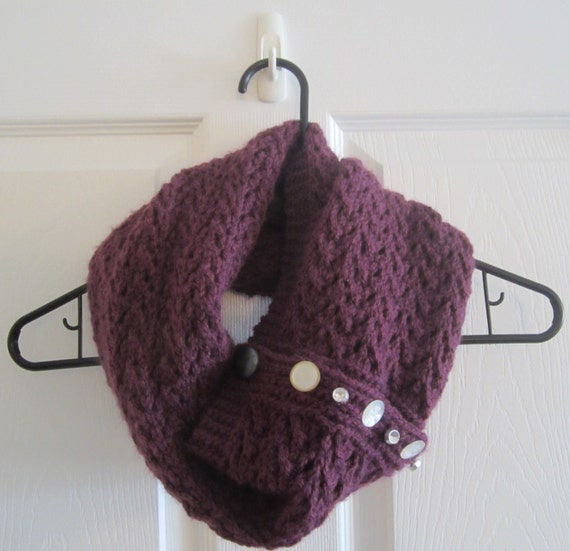 Infinity Scarf With Buttons Knitting Pattern : Hand Knit Infinity Scarf with Buttons // Red-Purple