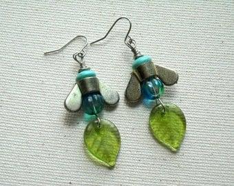 Industrial Wing nut Earrings,Czech Glass Earrings , Repurposed Jewelry,Sea Blue Glass Earrings ,
