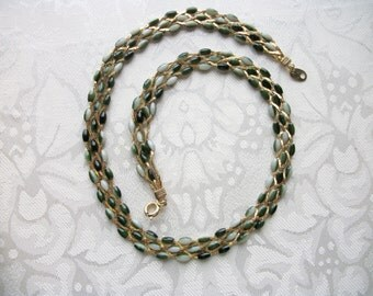 Vintage Braided Goldtone Chain & Multi Shade Green Beads Necklace Choker Women Designer Wife Gift Boss Mom Sister Daughter Retro