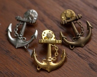 Anchor Pin - Silver, Gold, or Bronze
