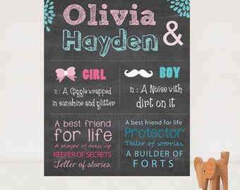 Custom Siblings chalkboard sign - Printable Twin chalk board poster brother and sister sign- DIGITAL