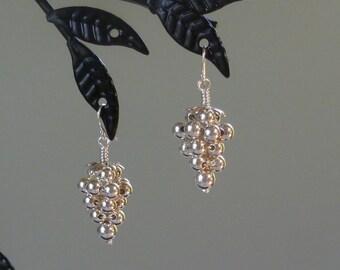 Grape Custer Sterling Silver Dangle Earrings