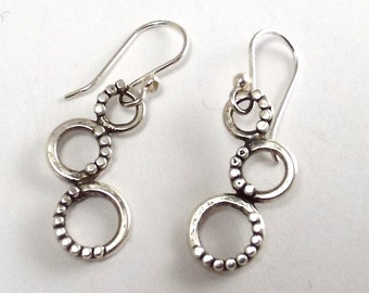 Sterling Three Circle Earrings on French Ear Wires, Graduated Hoops with Beadwire Detail