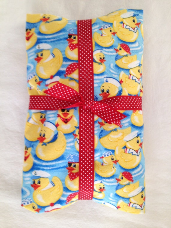 Sweet Little Yellow Nautical Rubbery Duckies Fitted Flannel