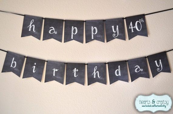 Chalkboard Happy Birthday Banner Rustic Hand