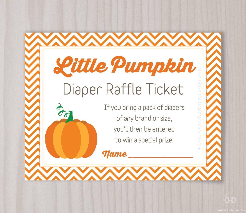Little Pumpkin Diaper Raffle Ticket Baby Shower Diaper Raffle