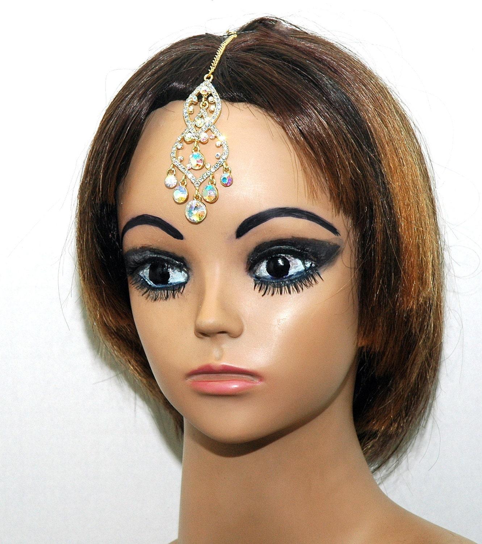 Indian Wedding Headdress: Tikka Indian Chain Headpiece Crystal Heapiece By OcasoGifts