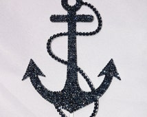 Navy Swarovski Crystal Nautical Themed Anchor Bling Cake Topper