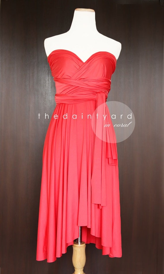 Coral Bridesmaid Convertible Dress Infinity Dress by ...