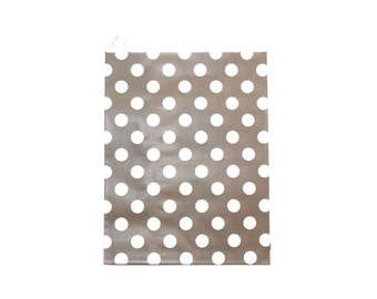 "25 Grey Dots Favor Bags - 5"" x 7"" Wedding Treat Bags, Paper Bags"