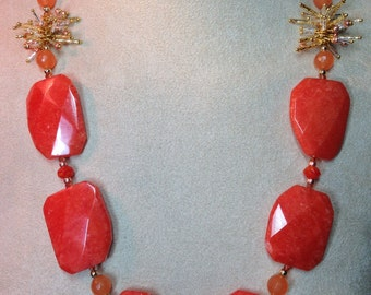 Orange Agate and Gold Chain Necklace