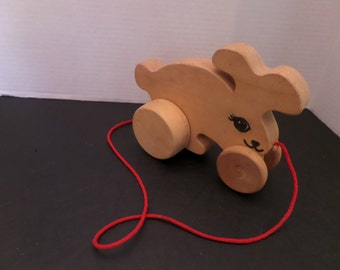 Vintage Wooden Pull Toy Bunny
