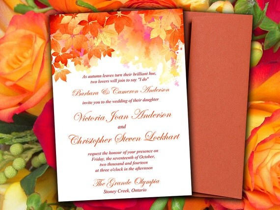 Diy Autumn Wedding Invitations: DIY Wedding Invitation Template Watercolor Fall
